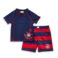 Baby Buns 2-Piece Anchor Rashguard Set in Navy/Red