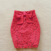 Bowknot lace tight skirts