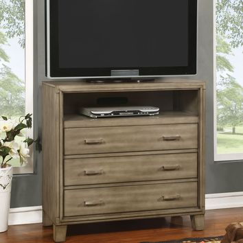 Hage Contemporary Style Gray, 3-Drawer Media Chest