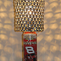 Vintage Budweiser Dale Earnhardt JR Edition Beer Can Lamp with Pull Tab Lampshade - The Mancave Essential