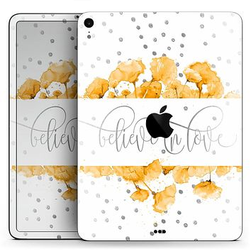 "Karamfila Yellow & Gray Floral V9 - Full Body Skin Decal for the Apple iPad Pro 12.9"", 11"", 10.5"", 9.7"", Air or Mini (All Models Available)"
