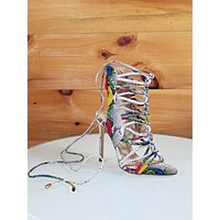 """Lucy Multi Snake Open Toe Knotted Strappy Stiletto - 4.5"""" High Heel Shoes"""
