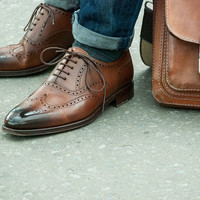 Handmade men brown two shades brogue leather shoes, Mens formal shoes