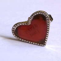 Heart Ring / Paper Doll Rings / Adjustable Metal Ring / Pink Heart Ring / One of a Kind / OOAK / Exentricity