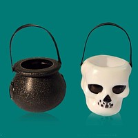 New Halloween Decor Black/White Candy Kettles Witch Cauldron Halloween Party Hanging Props