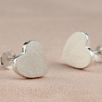 Silver Heart Shape Earring, 925 Silver Heart Shape Ear Studs, Bridesmaid, Birthday, Bridal, Wedding, Teenage, Christmas, Gift