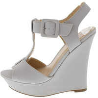 POMPEY54 LIGHT GREY BUCKLE T-STRAP WEDGE