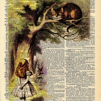 Original Alice and the Cheshire Cat Print on an Antique Upcycled Bookpage