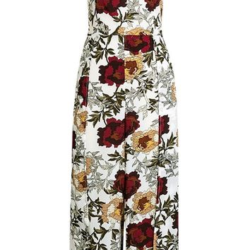 Burst Of Energy Floral Pattern Strapless Cut Out Bow Back Wide Leg Loose Palazzo Jumpsuit