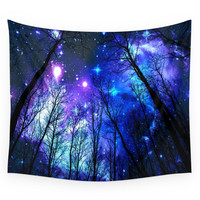 Society6 Black Trees Purple Blue Space Wall Tapestry