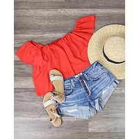 Honey Punch - Casual Chic Off The Shoulder Short Sleeve Top in Cherry Red