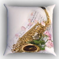 Saxophone and Rose Note Music Zippered Pillows  Covers 16x16, 18x18, 20x20 Inches