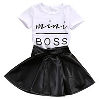 2017 Fashion Toddler Kids Girl Clothes Set Summer Short Sleeve Mini Boss T-shirt Tops + Leather Skirt 2PCS Outfit Child Suit