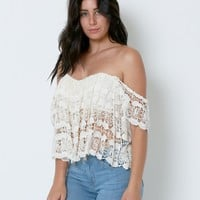 Love Story Lace Crop Top - White