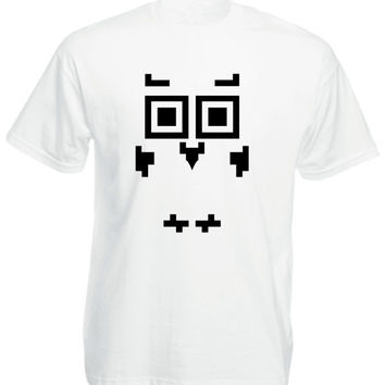 Mens Tshirt  - White - Owl - Printed w/ Eco-Friendly ink (S M L XL) Mens T-shirt Short sleeve, Mens Tshirt, Mens T shirt, made in israel