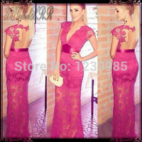 EP299 Sexy Cap Sleeves Lace Long Prom Dresses 2016 New Fashion Deep V Neck Appliques Red Fuchsia Prom Dresses
