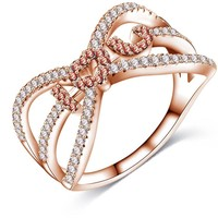 """LZESHINE Women Engagement Fingers Rings Rose Gold /Silver Plated with Cubic Zirconia """"I Love You"""" Rings For Lovers CRI1024"""