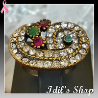 Authentic Turkish Ottoman Style Bronze Ring Encrusted With Ruby & Emerald Stones. Ring Is Adjustable.