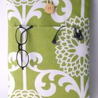 MacBook Air 13 Case, laptop charger cord pocket, 13 Inch MacBook Air or Pro sleeve, Laptop Bag, Peony Green Flowers