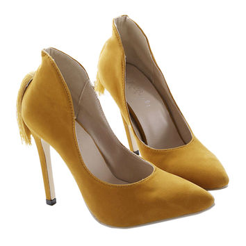 Back Heel Tassel Pointed Thin High Heel Low-cut Wedding Shoes  yellow