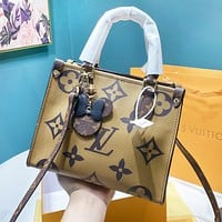 Louis Vuitton LV Women Shopping Bag Leather Handbag Tote Crossbody Satchel Shoulder Bag(Double Face Color)