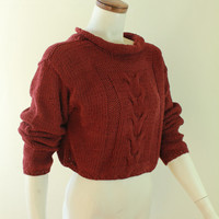 90s - Vintage - Burgundy Red - Chunky Braid Knit - Cropped - Slouchy - Sweater - Crop Top - Grunge Revival