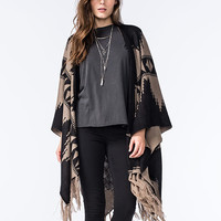 Woven Heart Womens Reversible Poncho Black/Taupe  In Sizes