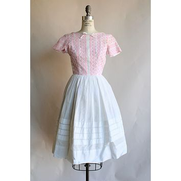 Vintage 1950s Pink Eyelet and White Cotton Dress