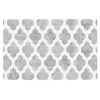 "Amanda Lane ""Gray Moroccan"" Grey White Decorative Door Mat"