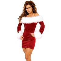 Sexy Cosplay Christmas Costume for women Adult Fancy Short Dress Club wear Free Shipping Christmas costume