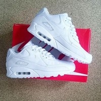 Tagre™ NIKE AIR MAX 90 fashion ladies men running sports shoes sneakers F-PS-XSDZBSH Pure white