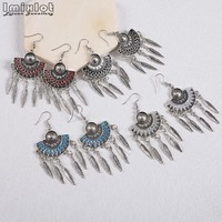 Bohemian Ethnic Tribal Leaves Metal Ball Tassel Dangle Earrings Belly Dance Jewelry Vintage Gypsy Statement Earring