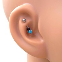 Turquoise Blue Daith Rook Piercing