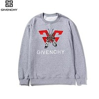 Givenchy 2019 new butterfly creative embroidery fashion round neck pullover long sleeve sweater Grey