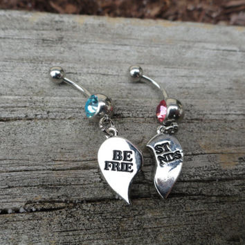 Best Friend Jewelry, BFF Jewelry, BFF Belly Button Ring, Navel Ring, Navel Piercing, Body Jewelry, Belly Button Ring, Gift, Valentines Day
