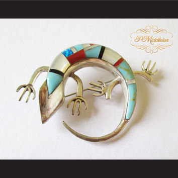 P Middleton Gecko Brooch Sterling Silver 925 with Semi-Precious Stones