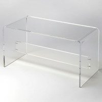 Lucite Clear Acrylic Coffee Table Waterfall Style