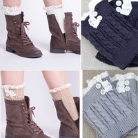 Raine Cable Knit Boot Cuff : Mustard, Latte, Cream