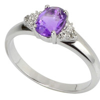 925 Sterling Silver .67ct Amethyst & Diamond Cocktail Ring