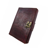 "5 x 7 Blank Leather Journal Embossed ""Tree of Life"" Celtic Sketchbook Brass Latch 220 Blank Pages"