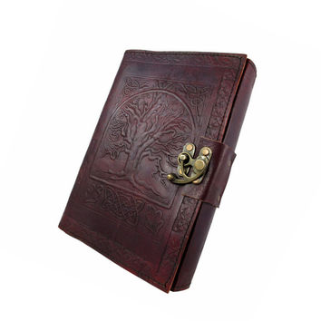 """5 x 7 Blank Leather Journal Embossed """"Tree of Life"""" Celtic Sketchbook Brass Latch 220 Blank Pages"""