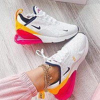 Nike Air Max 270 Hot Sale Women Casual Air Cushion Sport Running Shoes Sneakers White&Yellow&Pink