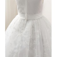 White First Communion Dresses For Girls Tulle Lace Infant Toddler Pageant Flower Girl Dresses for Wedding and Party
