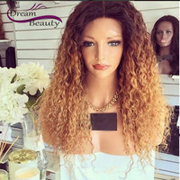 #2/#27 Two Tone Ombre 180% Brazilian Glueless Full Lace Wigs Blonde Ombre Human Hair Wigs Curly Lace Front Wigs With Baby Hair