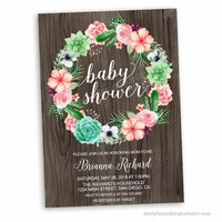 Wood Succulents Baby Shower Invitations