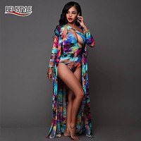 BFUSTYLE 2017 Sexy One Piece Bathing Suit Beach Cover Up Summer Swimsuit Floral Paint Swim Suits Swimming Matching Robe Swimwear