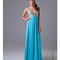 Turquoise Sheer Embellished Bodice Gown