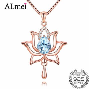 Almei 1.2ct Rose Gold Color Lotus Flower Light Sky Blue Topaz Pendant Necklace 925 Sterling Silver Jewelry with Box Chain
