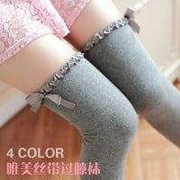 Sweet wave lace ribbon Knee High Stockings cotton tights women bowknot colorful FW161