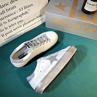 Golden Goose Ggdb Hi Star Sneakers With Star And Heel Tab In Metallic Silver
